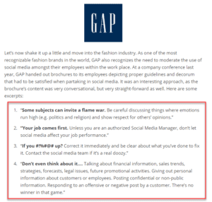 Gap Social Media Policy