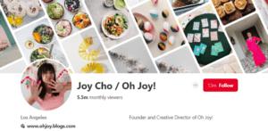 Joy Cho Pinterest Profile