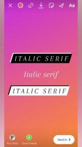 Instagram italic serif font