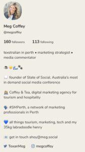 Meg Coffey's Clubhouse App Bio