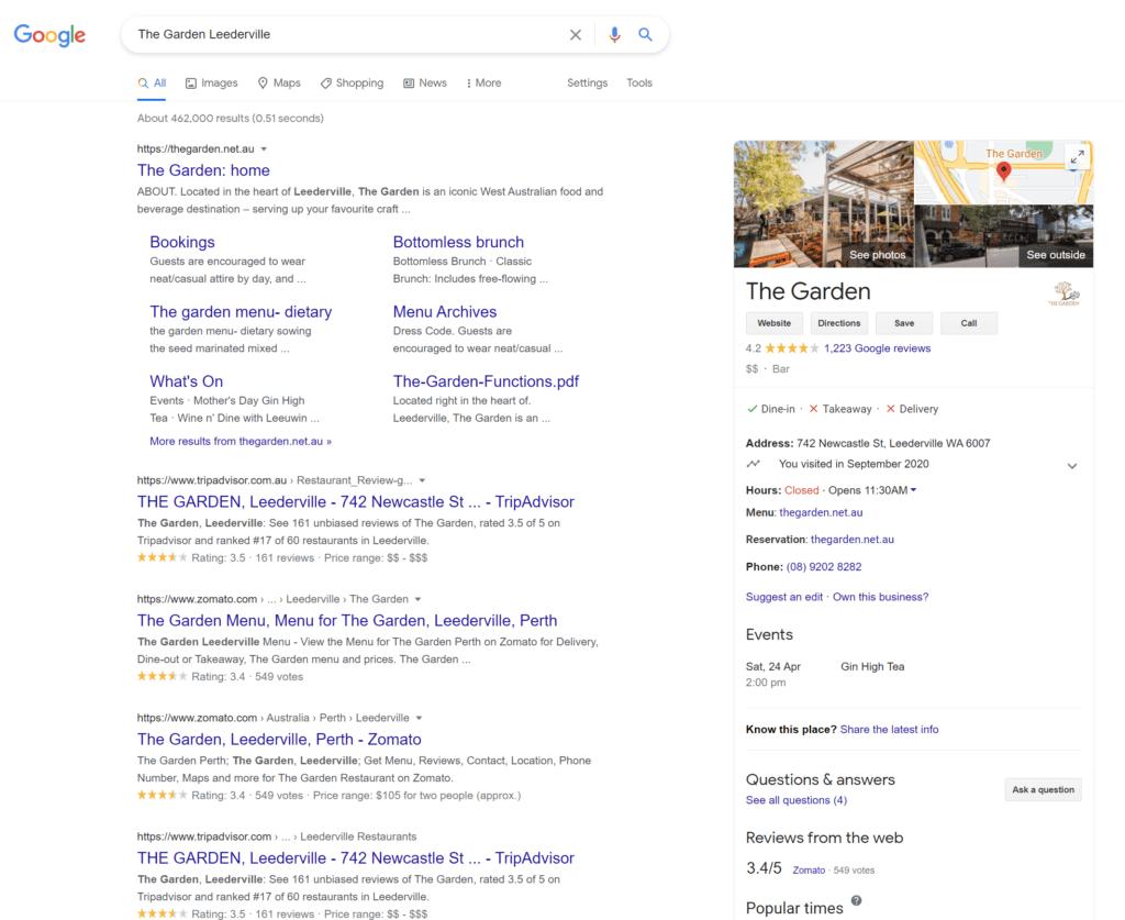 The Garden Leederville Google My Business listing